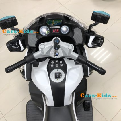 Электромотоцикл BMW R1200RT Police 12V - 212 (колеса резина, кресло кожа, музыка, ручка газа)